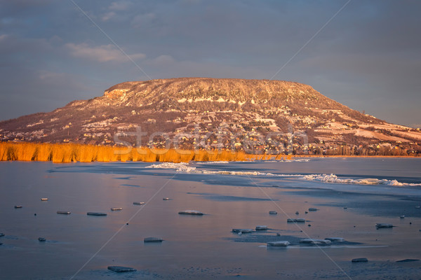 Landscape from Hungary, lake Balaton and mountain Badacsony in w Stock photo © digoarpi