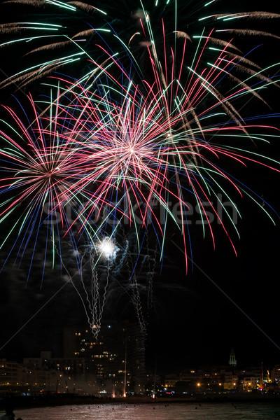 Fogos de artifício luz para cima céu festa feliz Foto stock © digoarpi