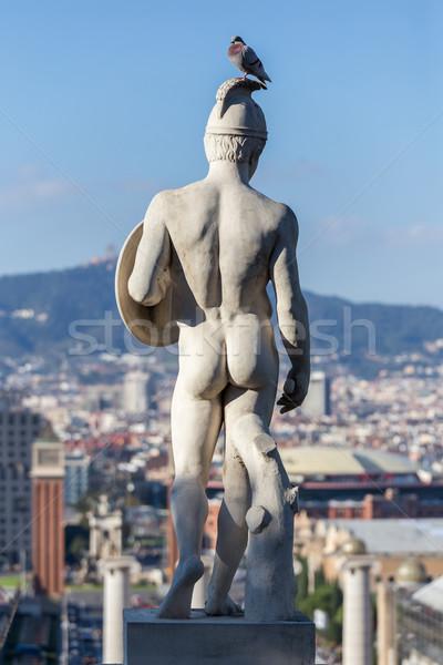 Szobor tájkép Barcelona Spanyolország város természet Stock fotó © digoarpi