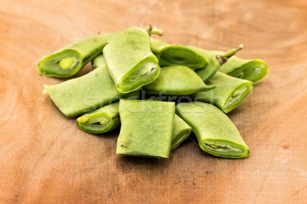 зеленая фасоль таблице зеленый Салат растительное свежие Сток-фото © digoarpi