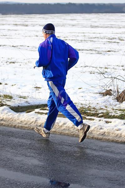 старший Runner подготовки конкуренция зима весны Сток-фото © digoarpi