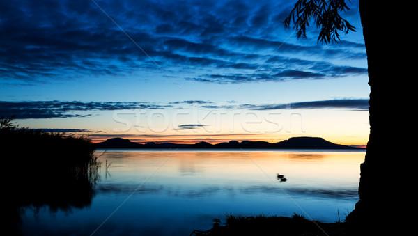 美しい 日の出 湖 バラトン湖 ハンガリー 夏 ストックフォト © digoarpi