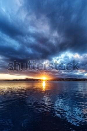 Belo pôr do sol oceano Espanha paisagem mar Foto stock © digoarpi