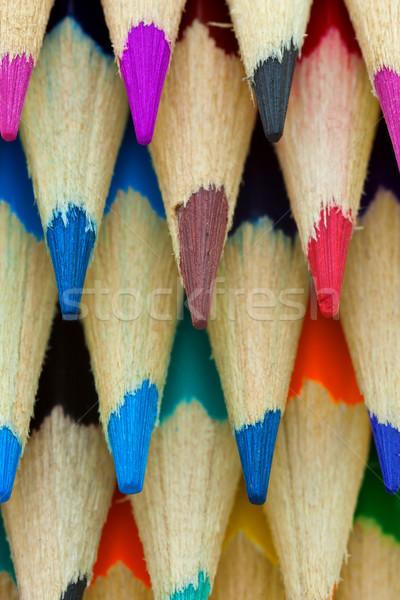 Lápis cor madeira escolas pintar Foto stock © digoarpi
