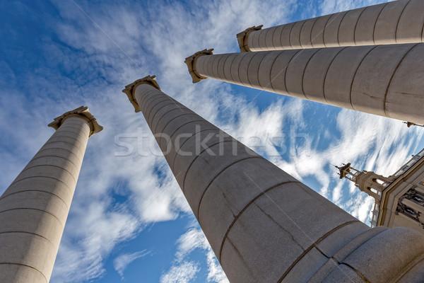 Symbolika cztery silne kolumnie Hill niebo Zdjęcia stock © digoarpi