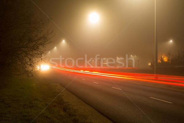 Gece ışıklar yol kış araba Bina Stok fotoğraf © digoarpi