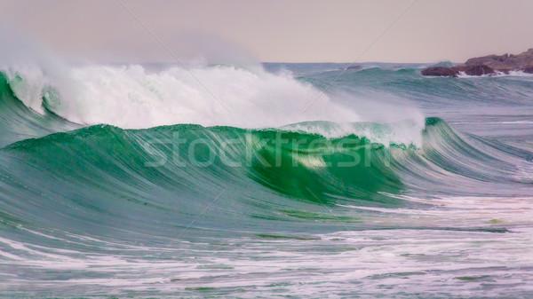 Big waves in a coastal in Costa Brava in Spain Stock photo © digoarpi