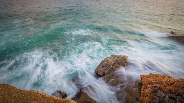 Big waves in a coastal in Costa Brava in Spain Stock photo © digoarpi