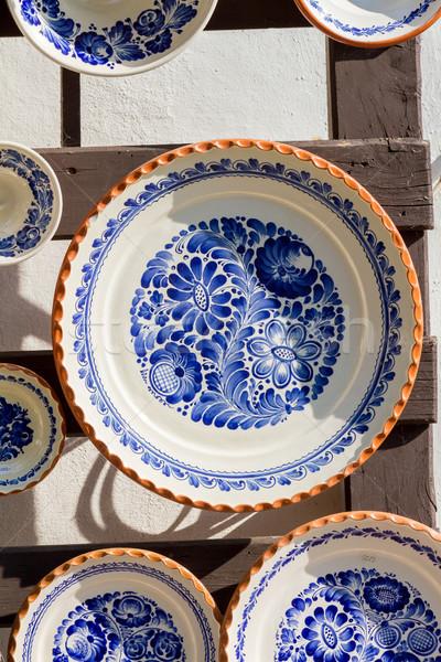 Renkli plaka eski dizayn çanak çömlek el Stok fotoğraf © digoarpi