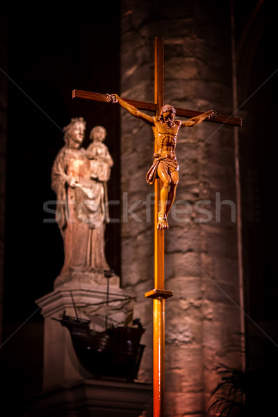Cross indoor in the cathedral in Barcelona of Spain Stock photo © digoarpi