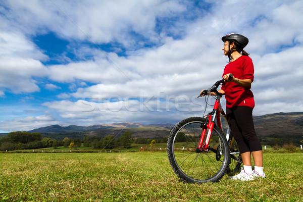 サイクリスト 見える スペイン語 風景 女性 ストックフォト © digoarpi