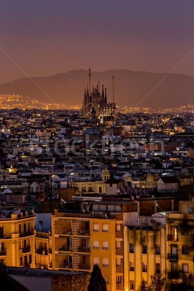 夜景 市 バルセロナ スペイン 空 建物 ストックフォト © digoarpi