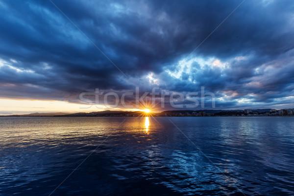 Beautiful sunset over the ocean in Spain Stock photo © digoarpi