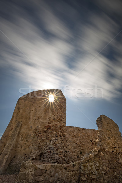Long exposure picture from a old castle in Spain, Catalonia, La  Stock photo © digoarpi