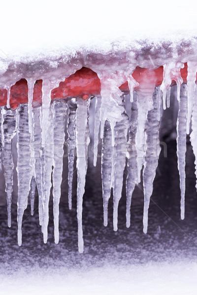 Koud winter dag veel ijskegel natuur Stockfoto © digoarpi