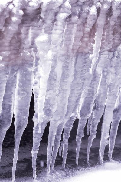 Soğuk kış gün çok buz saçağı su Stok fotoğraf © digoarpi