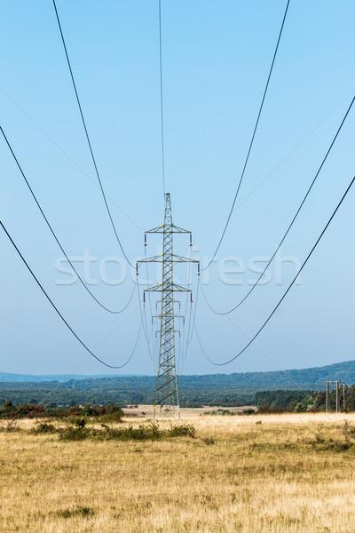 Nagy magyar vidék égbolt mező kék Stock fotó © digoarpi