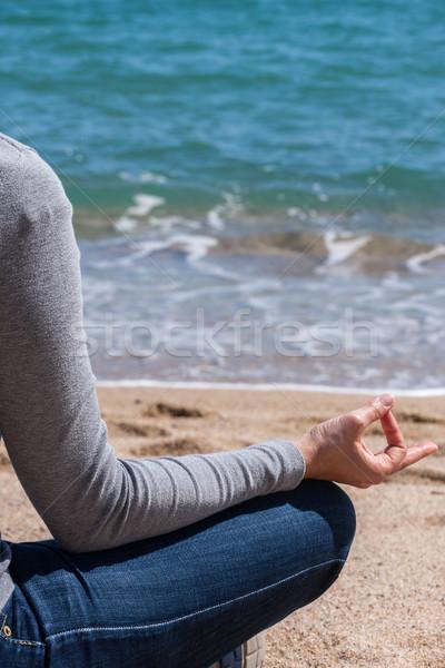 тело подробность красивая девушка медитации пляж женщину Сток-фото © digoarpi