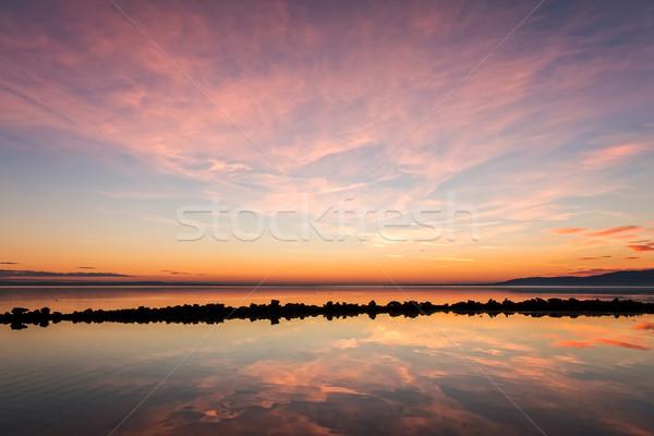 日没 冬 湖 バラトン湖 空 自然 ストックフォト © digoarpi