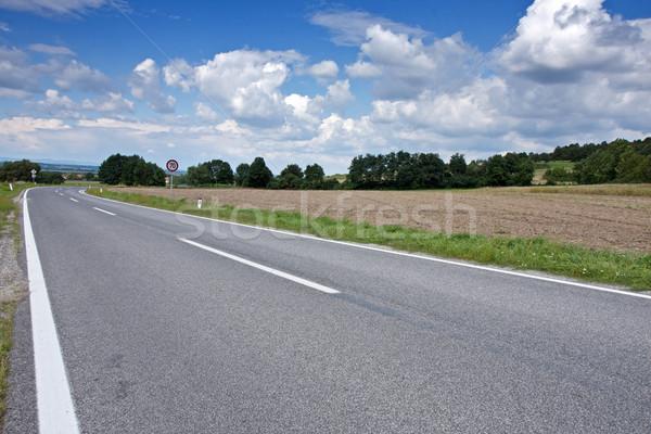 Stockfoto: Asfalt · weg · rechtdoor · leidend · bos · natuur