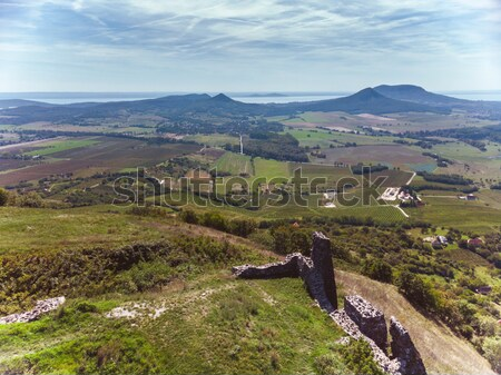 Panorama picture from the volcanoes in Hungary, near the lake Ba Stock photo © digoarpi