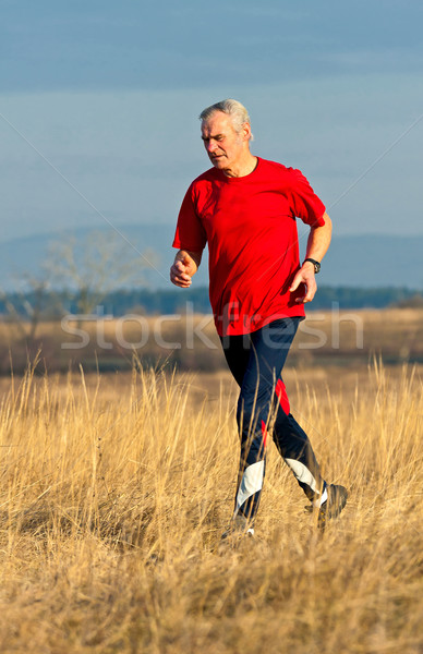Idős futó képzés verseny égbolt fű Stock fotó © digoarpi