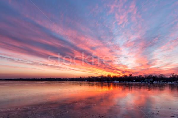 Puesta de sol invierno lago Balaton naranja amanecer Foto stock © digoarpi