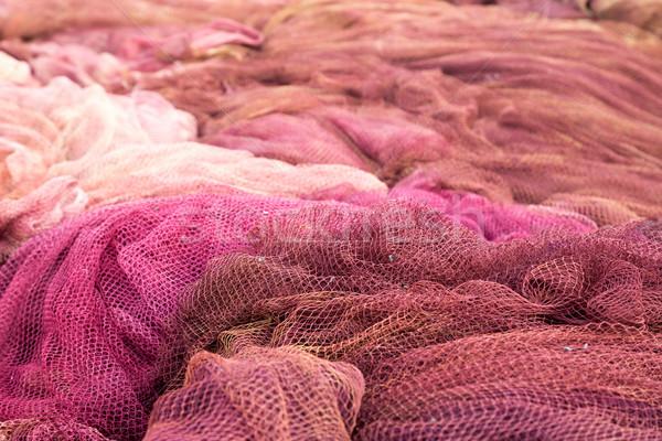 Stok fotoğraf: Kırmızı · balık · tutma · arka · plan · ağ · tekne · sanayi