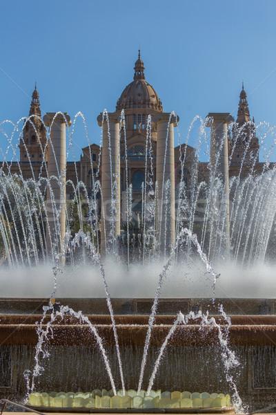 Művészet múzeum Barcelona Spanyolország épület kert Stock fotó © digoarpi