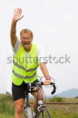Genç bisiklet yol Macaristan adam Stok fotoğraf © digoarpi