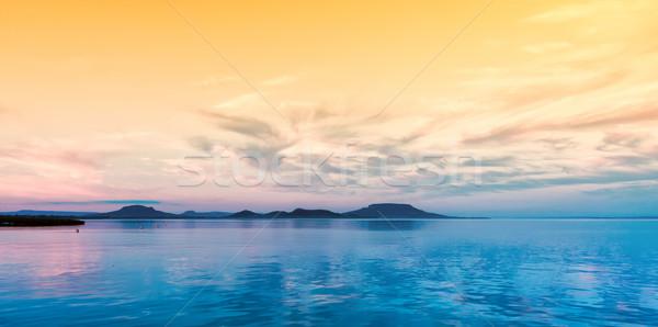 風景 ハンガリー 湖 バラトン湖 日没 自然 ストックフォト © digoarpi