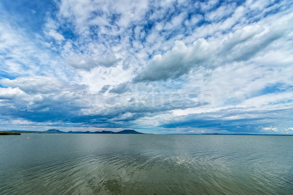 Beautiful lamb clouds above the lake Balaton of Hungary Stock photo © digoarpi