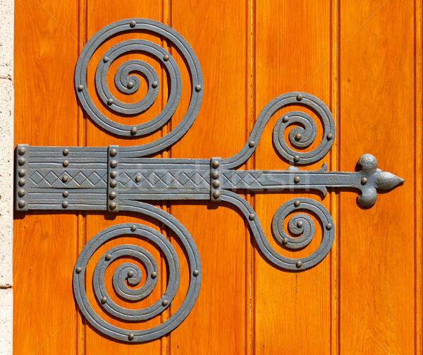 Spirali ozdoba ciekawy drzwi drewna żelaza Zdjęcia stock © digoarpi