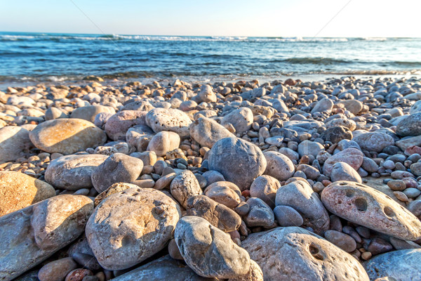 Beach coastal with pebbles Stock photo © digoarpi