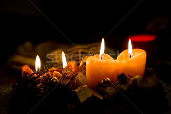 Noel mum süslemeleri tablo mutlu ışık Stok fotoğraf © digoarpi