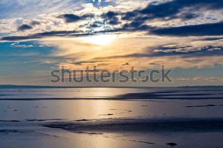 Hiver coucher du soleil lac Balaton Hongrie eau Photo stock © digoarpi