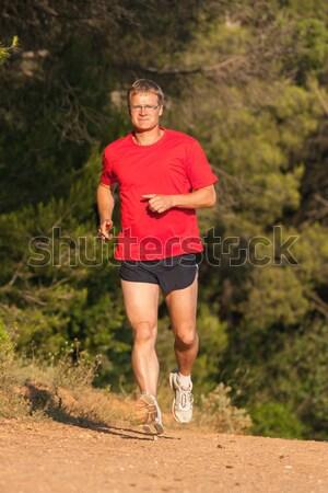 Jovem corredor treinamento competição árvore esportes Foto stock © digoarpi