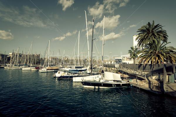 Stock fotó: Vitorlások · kikötő · Barcelona · Spanyolország · város · sport