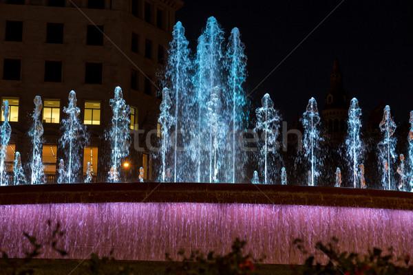 фонтан ночь Барселона свет улице путешествия Сток-фото © digoarpi