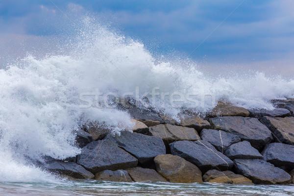 Mooie groot golven spaans middellandse zee oceaan Stockfoto © digoarpi