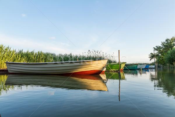 лодках закат весны синий лодка красный Сток-фото © digoarpi
