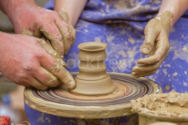 Pote interessante profissão mão trabalhar copo Foto stock © digoarpi