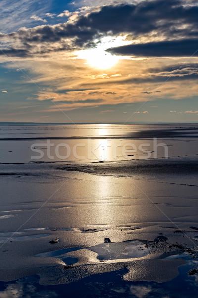 зима закат озеро Балатон Венгрия воды Сток-фото © digoarpi