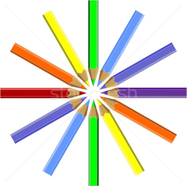 Kalem ayarlamak renk bilgisayar Internet ahşap Stok fotoğraf © Dimanchik