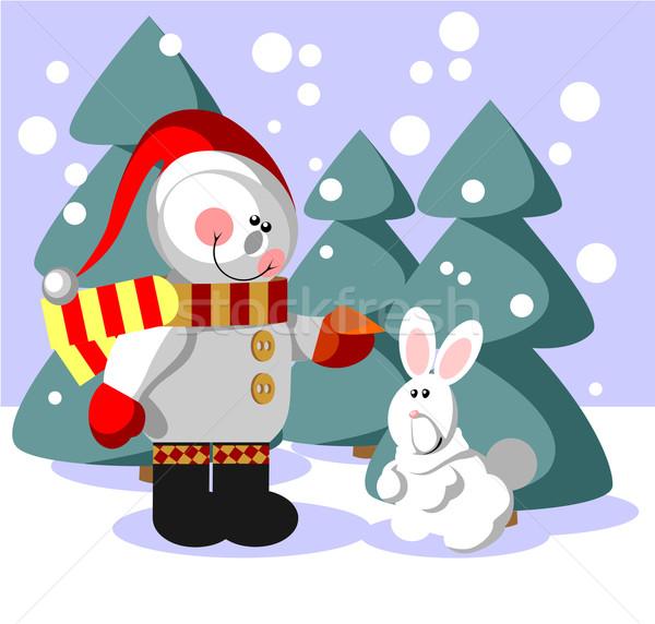 снеговик цвета вектора подарок счастливым аннотация Сток-фото © Dimanchik