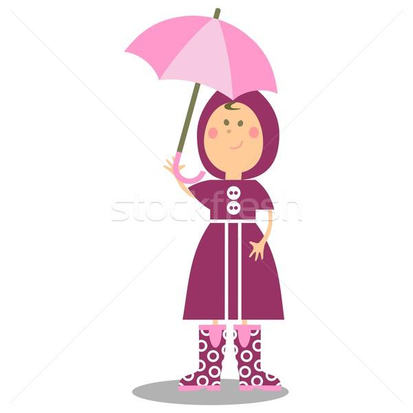 Lány sétál esernyő 19 vektor nő Stock fotó © Dimanchik