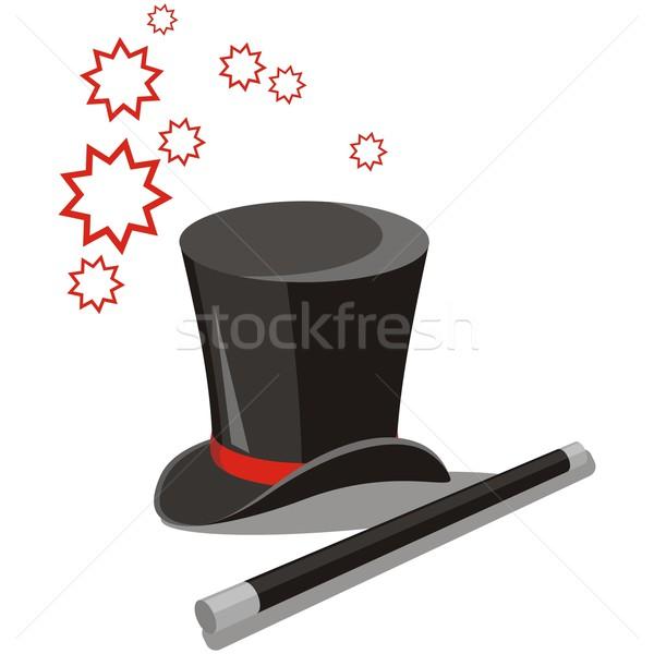 Magic hat zestaw wektora sztuki czerwony Zdjęcia stock © Dimanchik