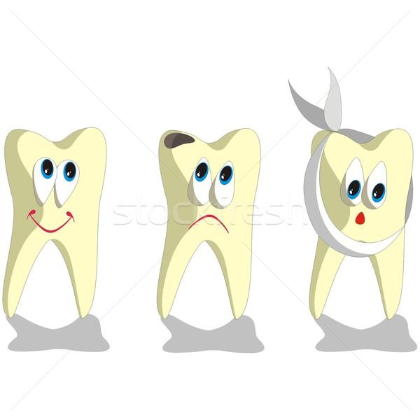 Diş karikatür ayarlamak vektör dizayn ağız Stok fotoğraf © Dimanchik
