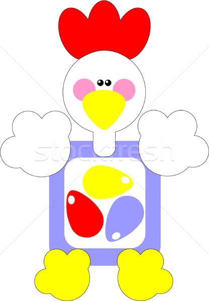Tatil horoz hediye yumurta renk vektör Stok fotoğraf © Dimanchik