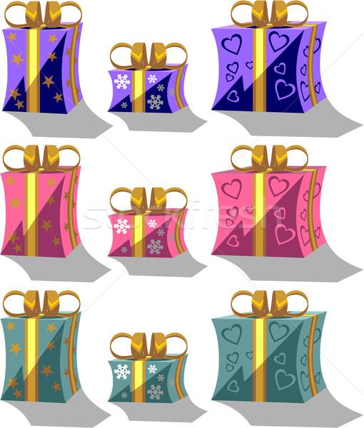 Stock fotó: ünnep · szett · szín · vektor · boldog · terv